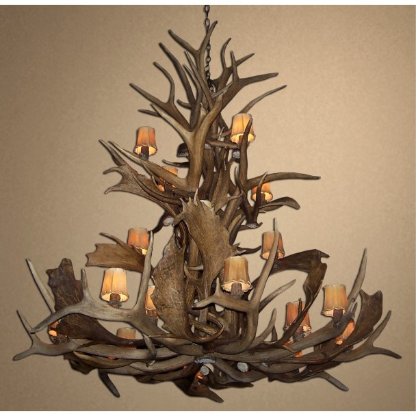 Bryce Canyon Real Antler Elk & Fallow Chandelier CD-EFC