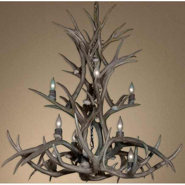 Real Antler Mule Deer Cascade Inverted Chandelier MDCASI