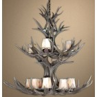 Real Antler Double Tier Mule Deer Chandelier MDDT