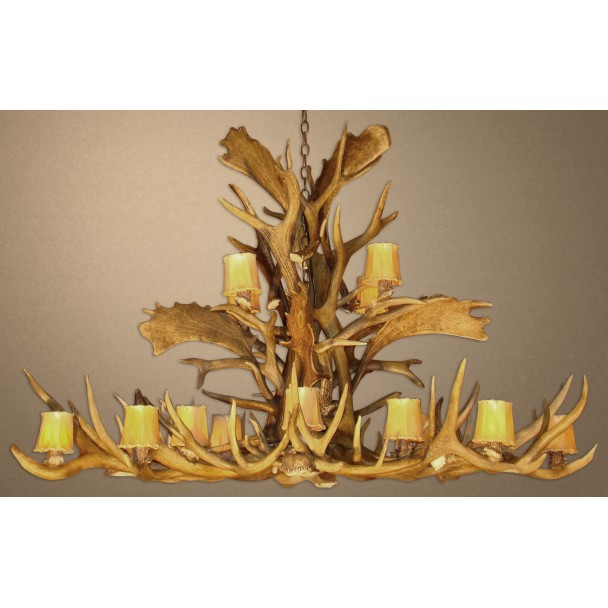 Real Antler Elk / Fallow / Mule Deer Pool/Dining Table Chandelier EFMDP / EFMDPR