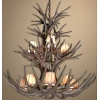 Reproduction Antler Double-Tier Mule Deer Chandelier RL-10